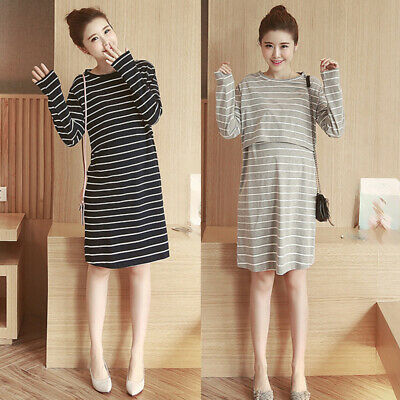Pregnant Women's Long Sleeve Round Neck Stripes Maternity Dress Casual Sundress