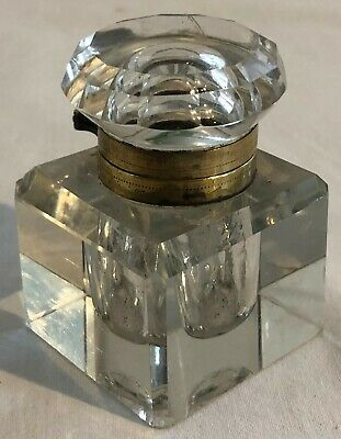 Antique Victorian Cut Glass Inkwell With Hinged Brass Collar Lid
