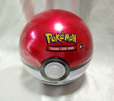 Pokemon TCG English Red Poke Ball Tin (Slight Dents) w/ 3 Booster Packs & Coin