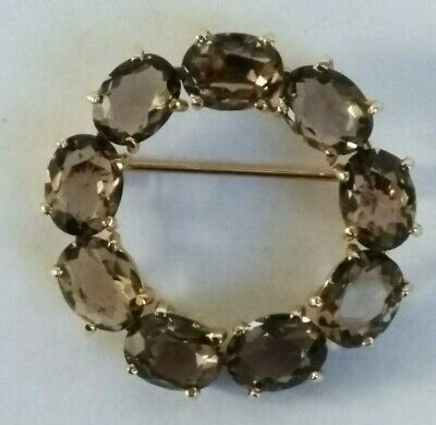 """1.20"""" VINTAGE 14K Yellow Gold Imperial Smoky Topaz Wreath Brooch Signed - $840.00 