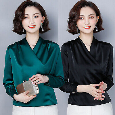 Autumn Lady Satin Faux Silk Long Sleeve V-Neck Business Party Blouse Shirt Tops