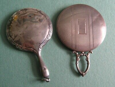 2 Antique Sterling Silver Chatelaine Mirrors, Watrous Mfg. +