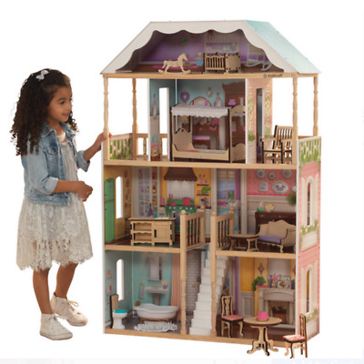 Doll House Girls Large Kit Wooden Play Playhouse Furniture Dollhouse Fits Barbie