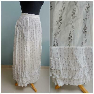 Antique Victorian Skirt Ladies Printed Calico Floral Country Folk Prairie c1900