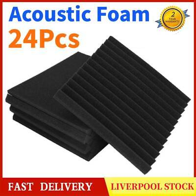 UK 24Pcs Soundproofing Acoustic Foam Panel Wall Tiles for Recording Studio Black