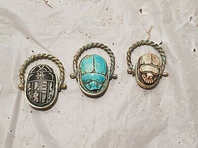 Rare Antique Ancient Egyptian 3 Bronze Rings Scarabs Good Luck Hirogl1760-1670BC