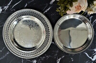 Set of 2 Vintage Tarnished Silver Plate Trays/ Silverplate French Farmhouse Wall