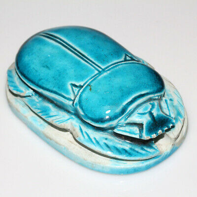 Massive - Vintage Hand Made Stone Egyptian Seal Scarab With Glaze Paint