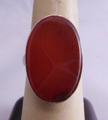 Antique Sterling Silver Natural Red Agate Stone Oval Shape Ring