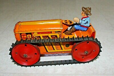 Marx Wind Up Tractor Litho Tin toy Antique Vintage Works Farmer