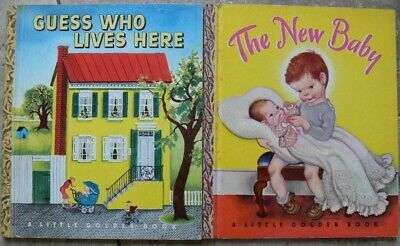 2 Vintage Little Golden Books ~ GUESS WHO LIVES HERE, THE NEW BABY Eloise Wilkin