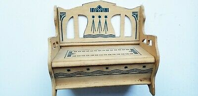 Antique  German Light Wood Darling Stencilled Bench  ~Art Deco Or Noveau Style
