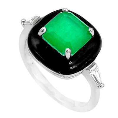 Liquidation Sale 4.37cts green emerald (lab) topaz enamel ring size 7 a95748