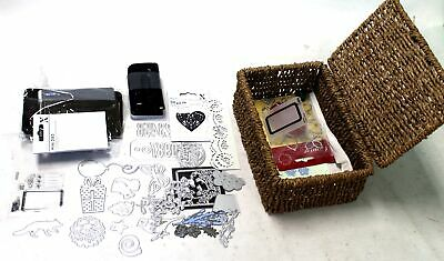 Collection Of Assorted ART & CRAFTS Metal Craft Stencils W/ Basket - B77
