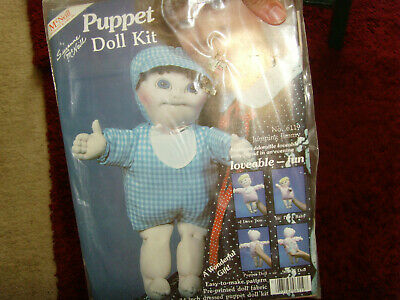 Vintage NIP NOS Jumping Jimmy Puppet doll craft kit pre printed fabric retro fun