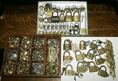 Collection of 375 Plus Antique Padlocks Keys Chains Warded * Reese Walsco +