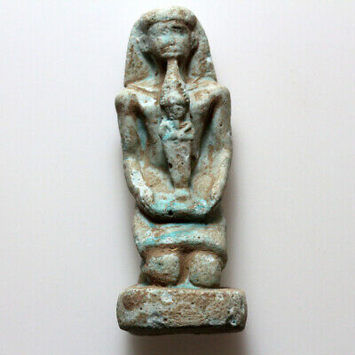 Intact Egyptian Blue Faience King Statue Circa 1900-1000 Bc