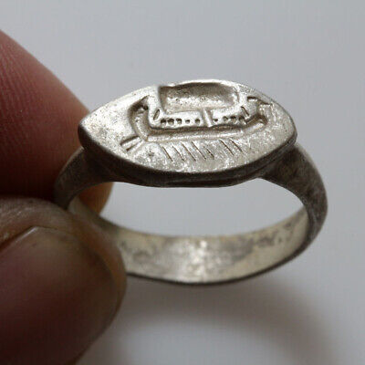 Museum Quality Roman Silver Seal Ring - Military Ship Depiction Ca 100 Ad