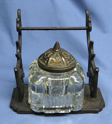 Antique Cast Iron Gothic Inkwell with Square Glass Well