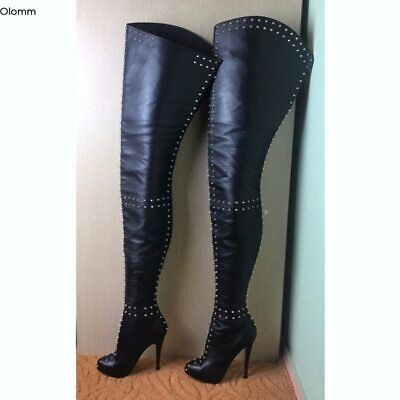 Women Thigh High Boots Sexy Rivets Stiletto Heels Round Toe Black US Size 5-15