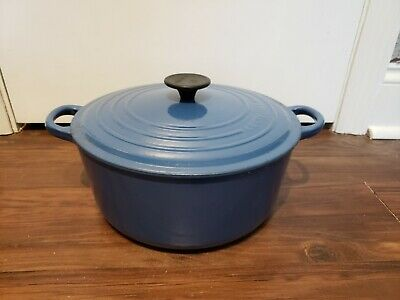 Le Creuset #26 / 5.5 Qt Dutch Oven Enameled Cast Iron Cookware France Blue