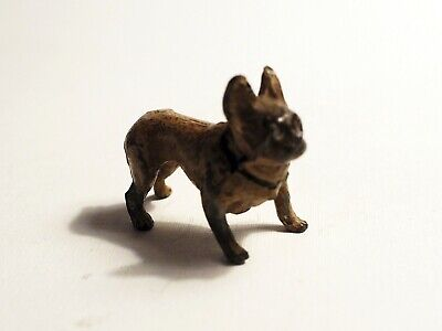 Antique metal dog Frenchie French Bulldog Bully dog black collar cold painted