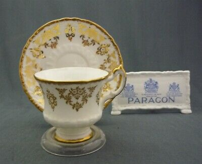 Fancy Paragon England Bone China Heavy Gold Trim Tea Cup & Saucer Duo