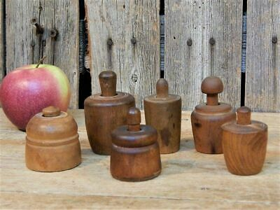 AAFA 6 Early Antique Carved Wood Butter Stamp Press Molds Lot
