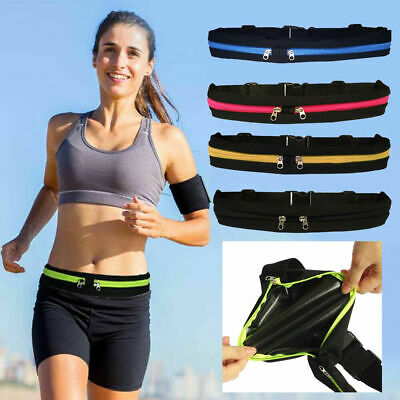 Dual Pocket Running Runner Waist Belt Bag Pack Pouch Bum Sport Jogging Gym Yoga