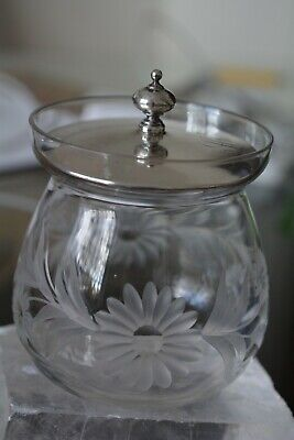 Vintage Honey/ Mustard Etched Daisy Flowers Jar with Sterling Silver Lid Mono