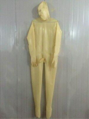 Hot Sale Latex  Catsuit Overall Zentai Kostüm Weiß 100% Rubber Gummi Fixed size