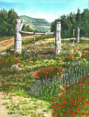 "Texas Bluebonnets Landscape oil painting Giclee Printed on Canvas 16""X20"" P111"