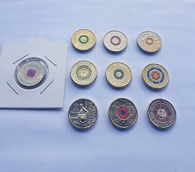 2012=2019 $2 Anzac Commemorative coins x10 incl 2012 Red Poppy. All UNCirculated
