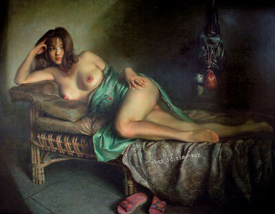 Nudes Girl on the Bed Oil painting Hd Printed on Canvas 16X20 inch P905