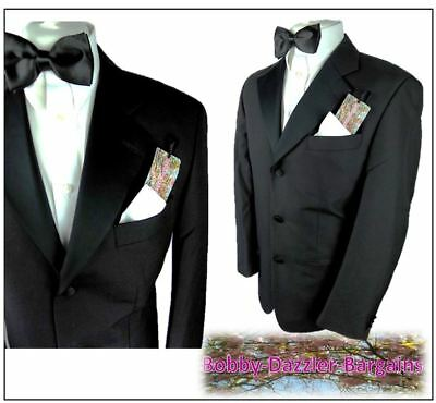"Armando Mens Black  Tuxedo Dinner suit Ch40""R ,W34""  L29"" Wool mix Prom Ball"