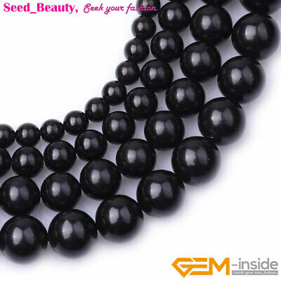 """Natural Round Black Jet Stone Loose Beads For Jewelry Making 15"""" Wholesale DIY"""