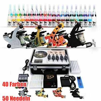 Tätowierung Komplett Tattoo Kit Set 4 Tattoomaschine DE color inks 50 Nadeln NEU