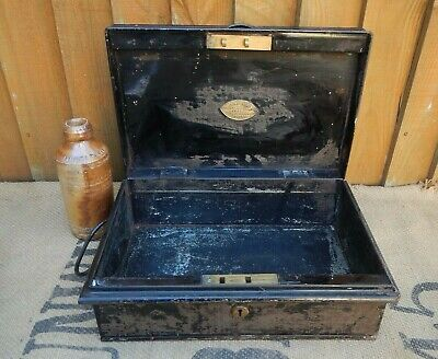 C.1880 Victorian Chubb Japanned Tin Strong Box~Small Deed Box~Makers Brass Plate