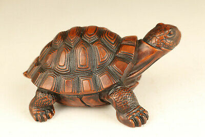 chinese old boxwood hand carved tortoise netsuke collectable statue ornament