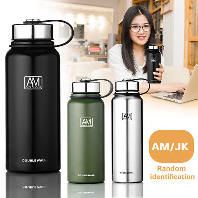 0.8/1.1/1.5L Double Walled Vacuum Insulated Water Drinks Bottle Stainless Steel