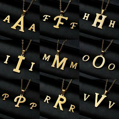 Fashion Gold Stainless Steel Jewelry Set Women Letters Pendant Necklace Earrings