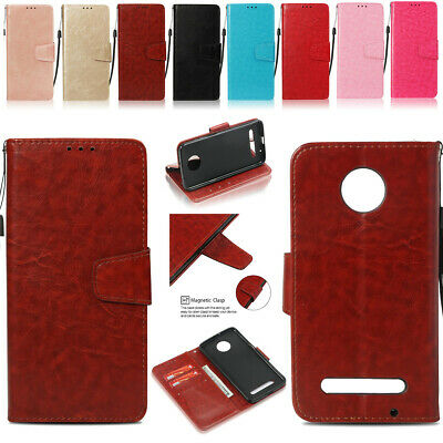 For Motorola E4 G5 G6 Plus Z3 Play Retro Leather Cards Stand Wallet Case Cover