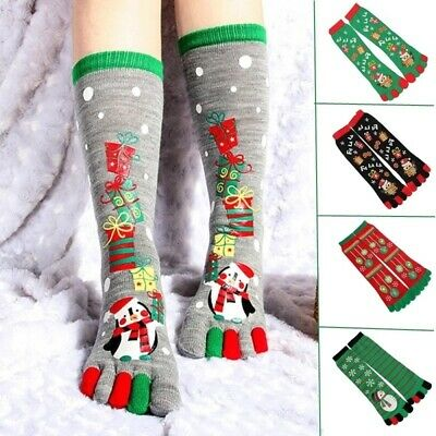 Cute Cotton 5 Fingers Socks Christmas Santa Claus Printed Socks Gifts For Kids