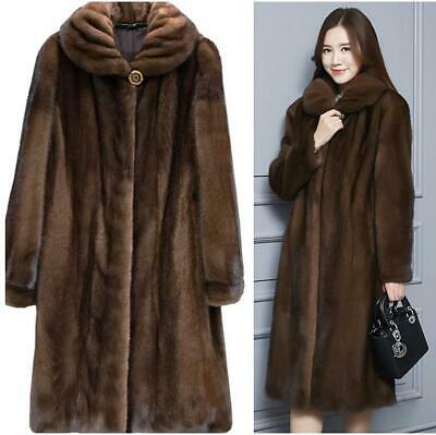 Women Lady Soft Mink Fur Coat Outwear Winter Warm Overcoat Parka Jackets Garment