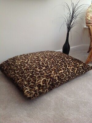 Beanbag Floor Cushion Filled Leopard Print Faux Fur Large 3cf Size Luxurious