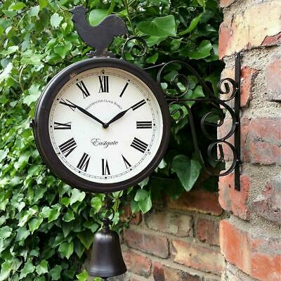 Outdoor Wrought Iron Garden Clock Double-Sided Wall Hanging Clock With Cockerel