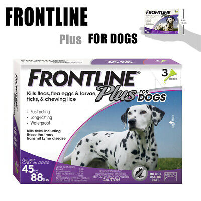Frontline Plus for Dogs (45-88 lbs) Flea and Tick Treatment, 3 Doses