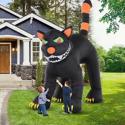 HOMCOM 10' LED Outdoor Halloween Inflatable Decoration - Black Cat Shaking Head