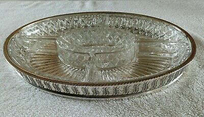 Vintage EPB Silver Plate Metal And Glass Display Serving Tray