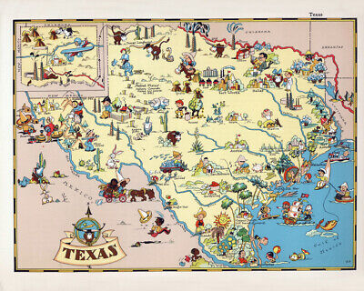 1935 Cartoon Map of Texas by Ruth Taylor White Reprint